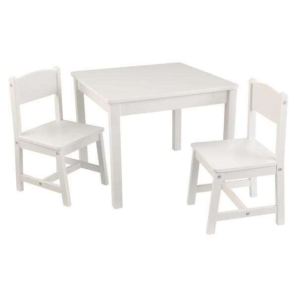 Kids White Wooden Table and 2 Chair Set