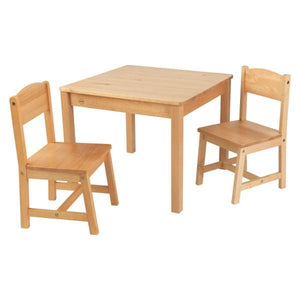 Kids Natural Wooden Table and 2 Chair Set
