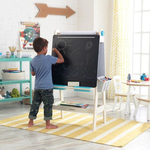Boy drawing on Kids Blackboard - Art Easel