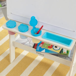 Kids White Art Easel - paint cups and pencil tray