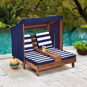 Kids Outdoor Lounge beside pool - Navy and White stripe