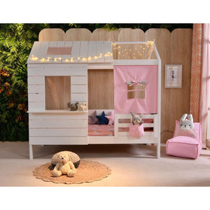 Wooden Cubby House Bed - Pink Fabric Windows