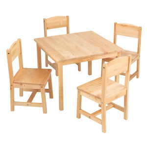 Kids Table and 4 Chair Set - Natural wood