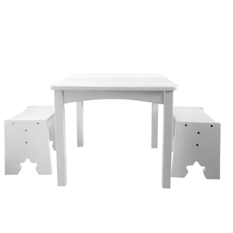 Kids Table & Chairs Set - 2 Stools - White