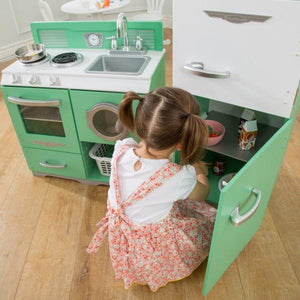 Homestyle 2 Piece Kitchen - Kids Play Kitchen - Vintage Style - Green