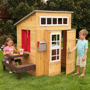 Boy and Girl playing with Modern Outdoor Playhouse