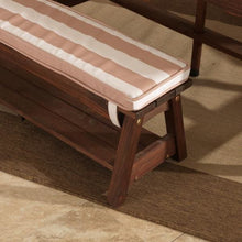 Kids Outdoor Bench Seat With Cushion - Oatmeal and White stripe