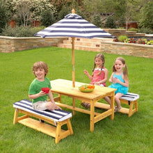Kids sitting on Outdoor Table and Bench Set - Navy and White stripe