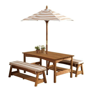 Kids Outdoor Table and Bench Set - Oatmeal and White stripe