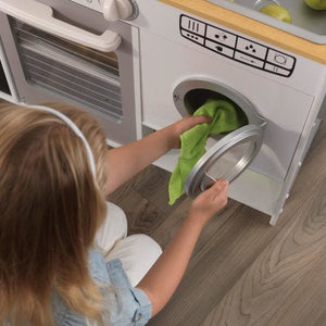 Girl using washing machine - Kids Play Kitchen - White