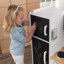 Girl writing on blackboard - Kids Play Kitchen - White