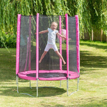 Plum® 4.5Ft Junior Trampoline - Girl jumping on pink trampoline