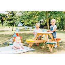 Plum® Circular Picnic Table With Coloured Seats - Kids Picnic Setup
