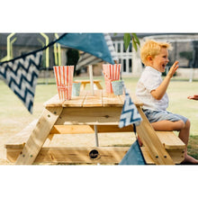 Plum® Picnic Table With Umbrella - Boy sitting on kids Picnic Table