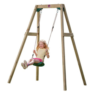 Plum® Single Wooden Swing Set - Girl on Swing