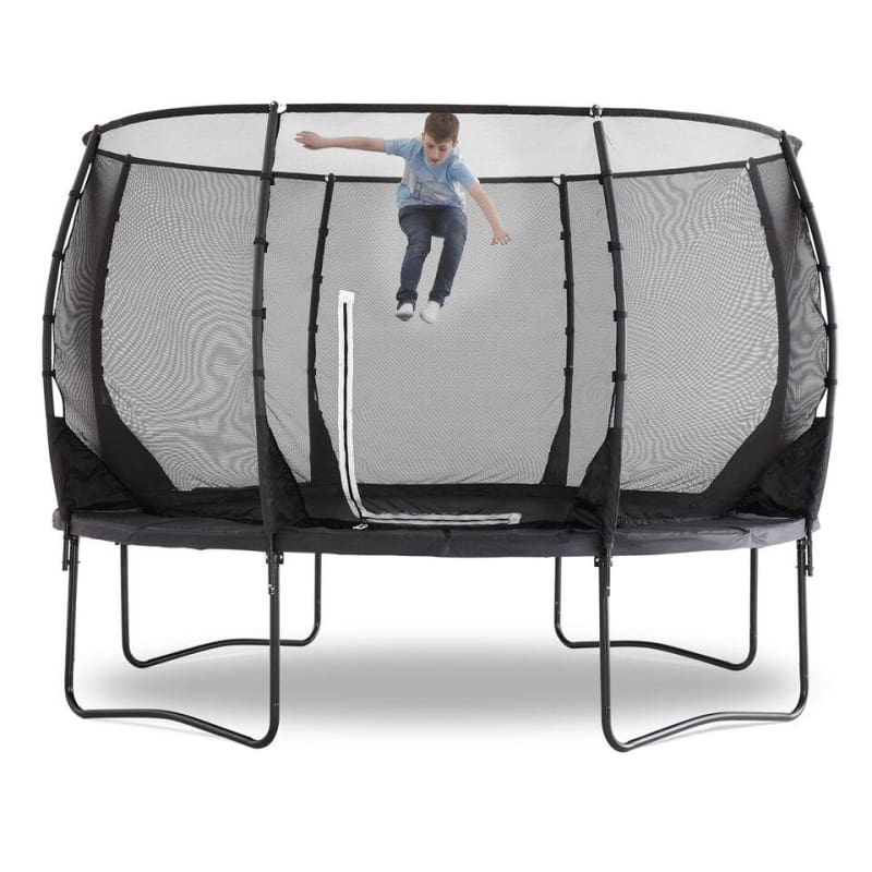 Plum® 12Ft Premium Magnitude Trampoline - Boy Jumping on Trampoline
