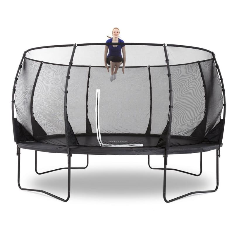 Plum® 14Ft Premium Magnitude Trampoline - Girl Jumping on Trampoline