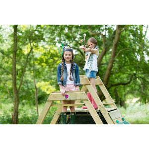 Plum® Climbing Pyramid Play Centre - 2 Girls on top of Play Set deck
