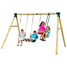 Plum® Colobus Wooden Swing Set - Kids Playing