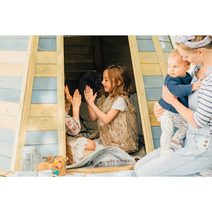 Plum® Grand Wooden Teepee - Girls Playing in Cubby House