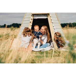 Plum® Great Wooden Teepee - Family playing inside Cubby House