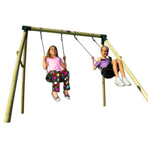 Plum® Marmoset Wooden Swing Set - 2 Girls Swinging on Swing Set