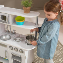 Girl cooking - Kids Play Kitchen - Vintage - White
