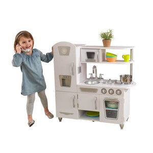 Girl and White Vintage Kids Play Kitchen