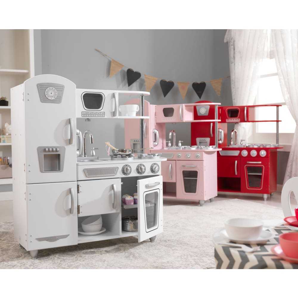 Kids Play Kitchen - Vintage - White - Pink - Red