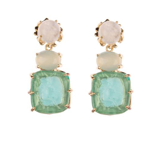 Load image into Gallery viewer, Hazel Smyth Gold and Aqua Stones Drop Earrings