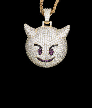 14K GOLD DEMON EMOJI PENDANT