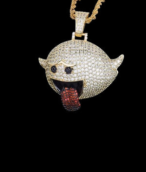 14K GOLD FLYING GHOST EMOJI PENDANT