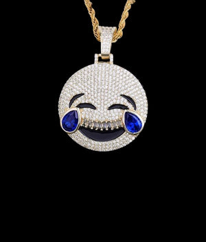 14K GOLD LAUGHING EMOJI PENDANT