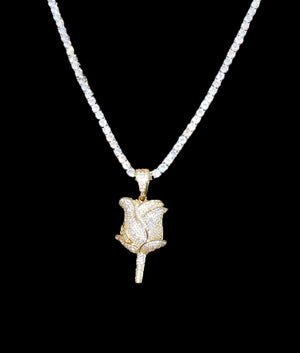 14K GOLD ROSE PENDANT