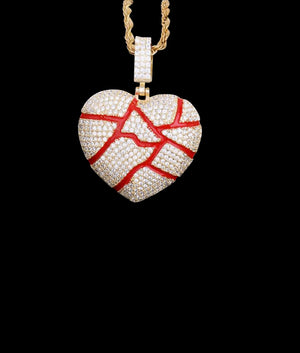 14K GOLD SHATTERED HEART PENDANT