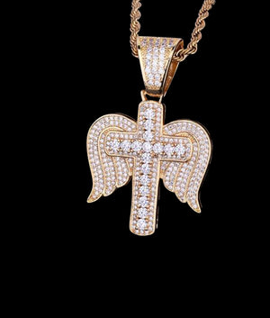 14K GOLD WINGED CROSS PENDANT