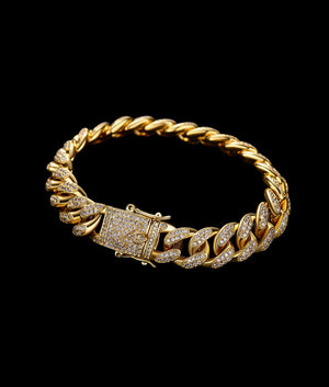 (12MM) GOLD ICED CUBAN  BRACELET