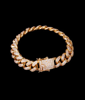 (14MM) GOLD ICED CUBAN BRACELET