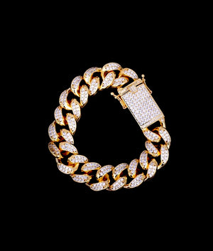 (18MM) GOLD ICED CUBAN BRACELET