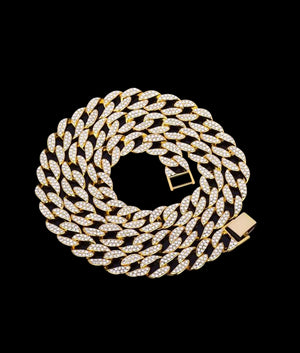 (15MM) GOLD ICED CUBAN CHAIN
