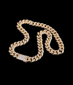 (20MM) GOLD ICED CUBAN CHAIN