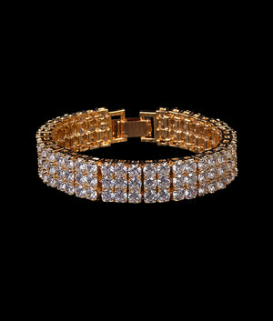 (14MM) GOLD THREE ROW TENNIS BRACELET