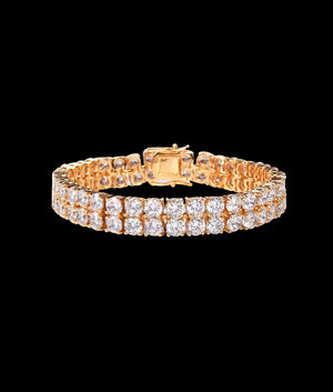 (10MM) GOLD TWO ROW TENNIS BRACELET
