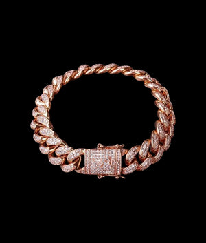 (12MM) ROSE GOLD ICED CUBAN BRACELET