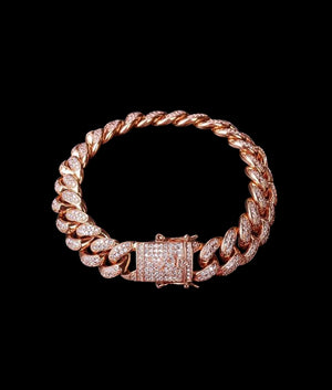 (14MM) ROSE GOLD ICED CUBAN BRACELET