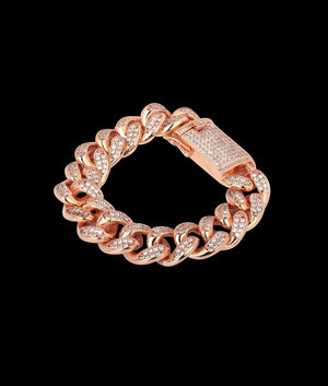 (20MM) ROSE GOLD ICED CUBAN BRACELET