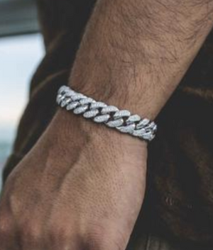 (12MM) WHITE GOLD ICED CUBAN BRACELET