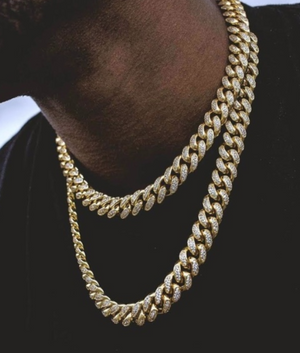 (12MM) GOLD ICED CUBAN CHAIN