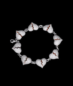WHITE GOLD BROKEN HEART BRACELET