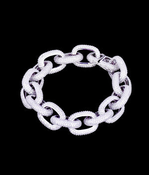 WHITE GOLD CHAIN LINK BRACELET